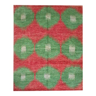 """Hand Knotted Ikat Rug by Aara Rugs Inc. - 9'5"""" X 11'10"""" For Sale"""