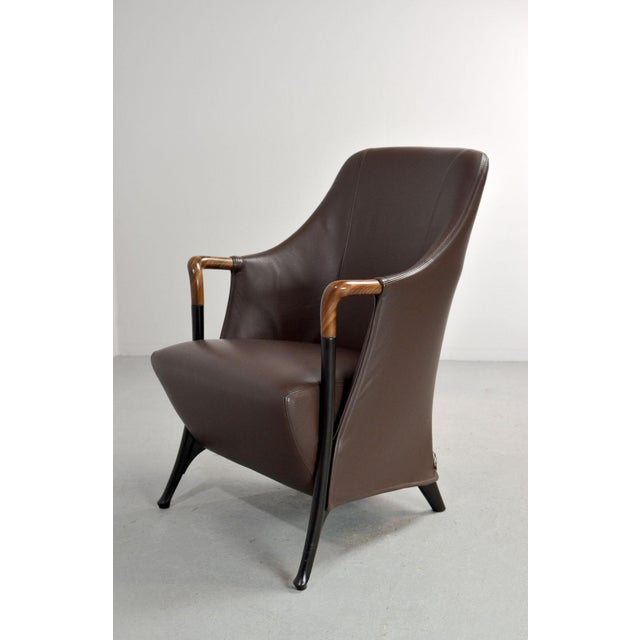 Mid-Century Modern Italian Design Seal Brown Leather Lounge Chair 'Progetti' by Giorgetti, 1980s For Sale - Image 13 of 13