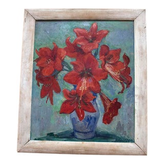 Early 20th Century Antique Amaryllis English Oil Painting For Sale