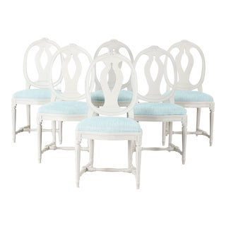 1970s Vintage Gustavian Carved Rose Chairs- Set of 6 For Sale