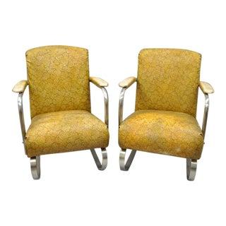 1930s Vintage Lloyd Tubular Chrome Steel Kem Weber Style Art Deco Springer Arm Chairs- A Pair For Sale