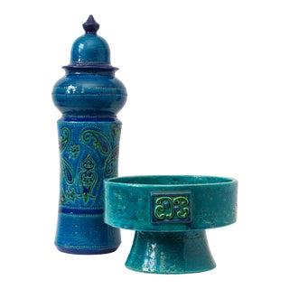 Vintage Aldo Londi for Bitossi Rimini Blu Sculptural Pottery Vessels - a Pair For Sale