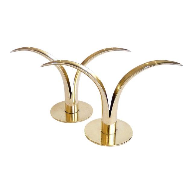 """Liljan"" Brass Candleholders by Ivar Ålenius Björk - A Pair For Sale"
