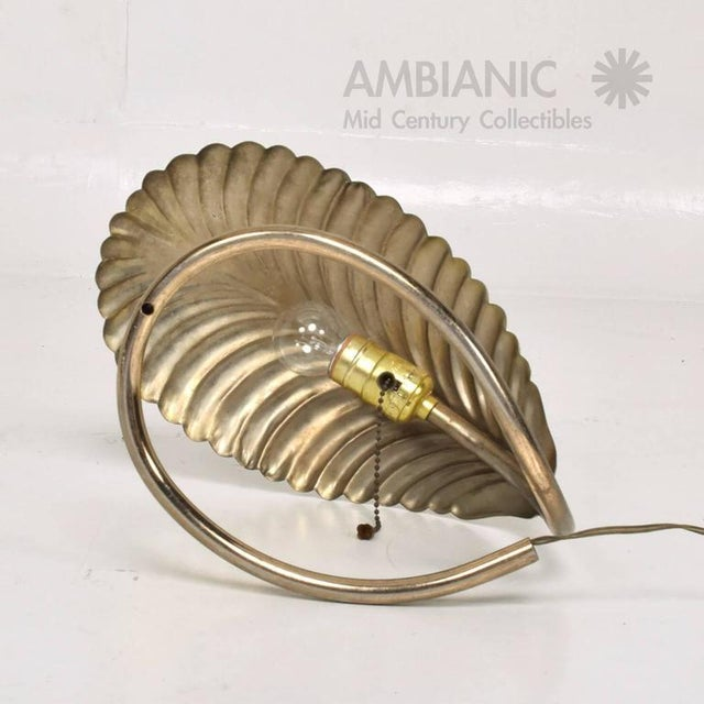 Italian Leaf Shade Brass Table Lamp For Sale - Image 3 of 9