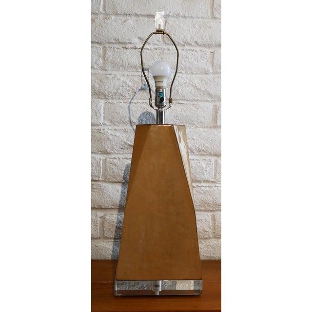 Mid-Century Modern Karl Springer Style Vintage Goatskin Lamp For Sale - Image 3 of 7