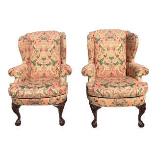 Chinoiserie Wingback Chairs - a Pair For Sale