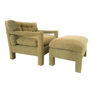 Milo Baughman Parsons Lounge Chair and Matching Ottoman For Sale