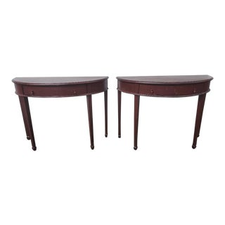 Habersham Melbourne Distressed Demilune Consoles - a Pair For Sale