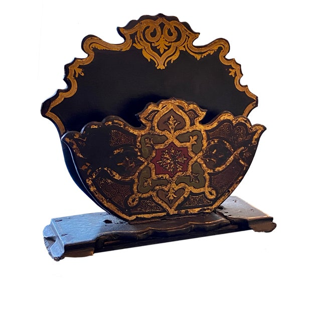 French Antique Black Paper Maché Letter Holder For Sale - Image 3 of 6