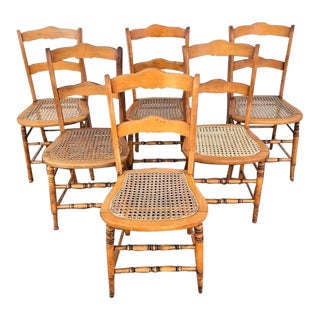 Late 19th Century Victorian Maple Country Dining Chairs - Set of 6 For Sale