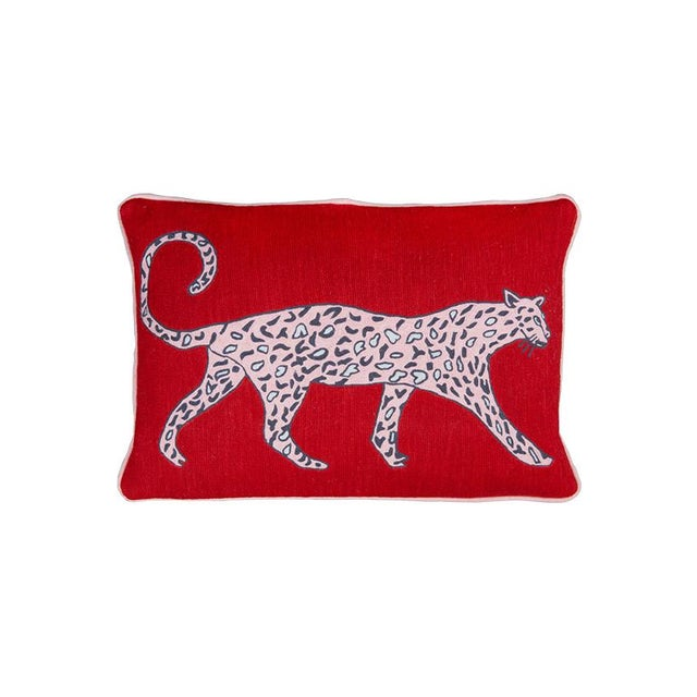 Luke Edward Hall Luke Edward Hall for the Rug Company Leopard Ruby Cushion For Sale - Image 4 of 4