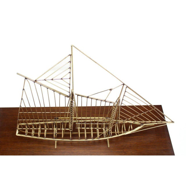Brass Long Brass 1976 Curtis Jere Sail Boat Sculpture For Sale - Image 7 of 10