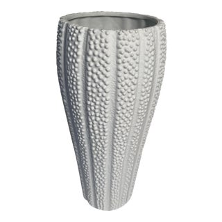 Late 20th Century Bisque Ceramic White Sea Urchin Fluted Vase For Sale