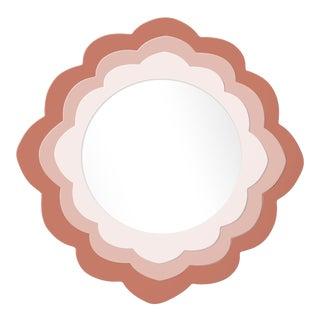 Fleur Home x Chairish Audobon Magnolia Circle Mirror in Red Earth, 48x48 For Sale