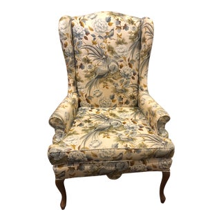 1980s Vintage Traditional Upholstered Wingback Chair For Sale