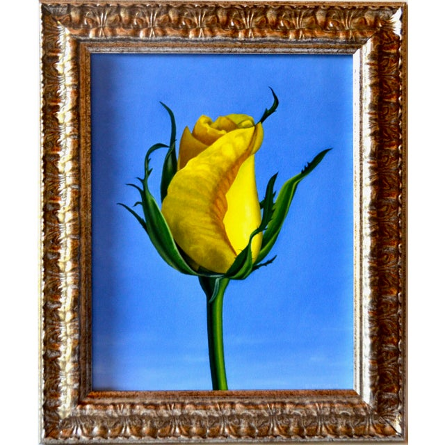 Original Oil Painting of Yellow Rose on Board Framed For Sale In Los Angeles - Image 6 of 6