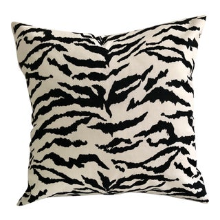 """Safari Tiger Print Outdoor-Indoor 16"""" Blended Down Pillow, Custom Made For Sale"""