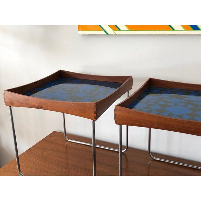 Plus-Linje 1960s Vintage Hermann Bongard for Plus-Linje Norwegian Enamel Tray Tables - A Pair For Sale - Image 4 of 12