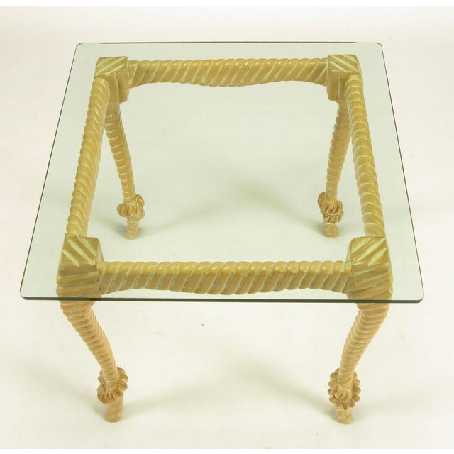 1970s Carved & Limed Wood Knotted Rope End Table For Sale - Image 5 of 8