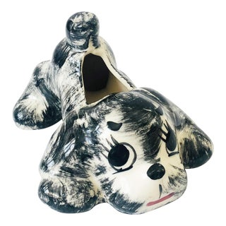 Mid Century Black and White Ceramic Dog Planter For Sale