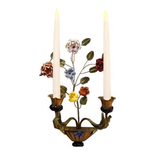 Vintage Mid-Century Italian Gilt Gold Tole Floral Metal Wall Sconce For Sale