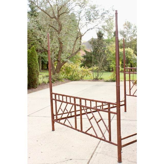 Red Vintage Chippendale Iron Bamboo Fretwork King 4 Poster Canopy Bedframe For Sale - Image 8 of 11