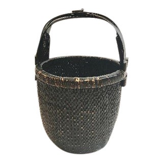 Antique Lacquered Reed Wood Basket W/ Bamboo Handle For Sale
