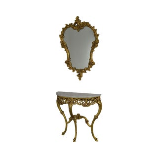 Rococo Gilt Carved Demilune Marble Top Console With Mirror For Sale