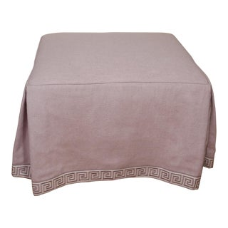 Late 20th Century Vintage Lavender Linen Ottoman For Sale