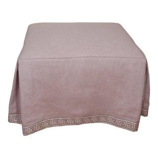 Late 20th Century Vintage Lavender Linen Ottoman For Sale