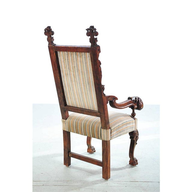 19th Century Carved Renaissance Arm Chair For Sale In Los Angeles - Image 6 of 10
