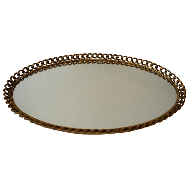 Vintage Gold Chain Mirror Tray - Image 1 of 4