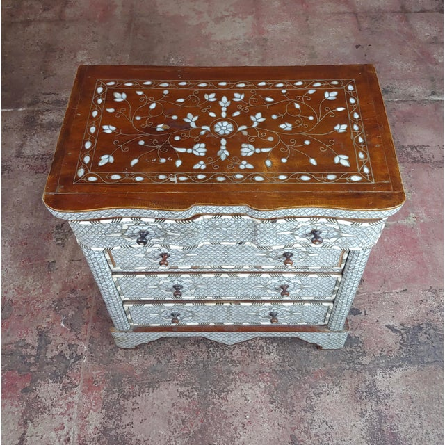 1920s Syrian Beautiful Mother-Of-Pearl Inlay Chests Nightstands - A Pair For Sale - Image 5 of 11