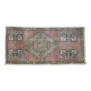 "Early 20th Century Handmade Turkish Accent Rug Carpet, 1'6"" X 3'2"" For Sale"