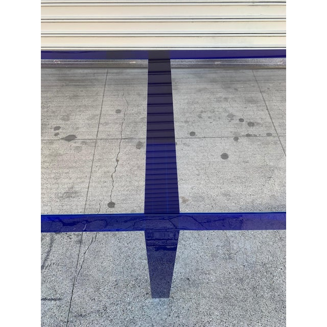 Custom Bench in Deep Blue and Clear Lucite by Cain Modern For Sale - Image 12 of 13