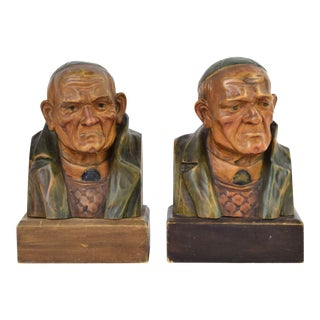 Antique Austrian Carved Wood Bookends Serious Old Mystery Man in Beanie Cap For Sale