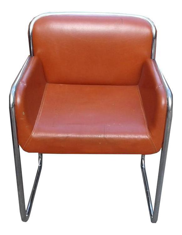 Vintage John Stuart Mid Century Modern Chrome Desk Lounge Dining Armchairs  For Sale
