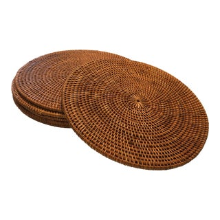 Country Style Woven Rattan Placemats or Chargers - Set of 6 For Sale