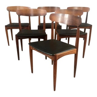 Johannes Anderson Teak and Skai Dining Chairs, Denmark, 1964 For Sale