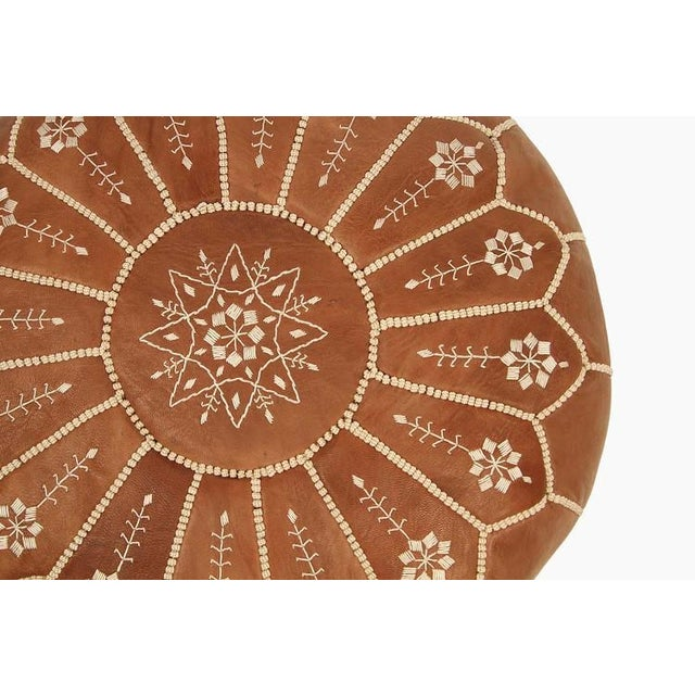Islamic Embroidered Leather Pouf, Chestnut Starburst Stitch For Sale - Image 3 of 5