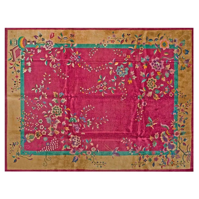 """1920s Chinese Art Deco Rug - 9'x11'8"""" For Sale"""