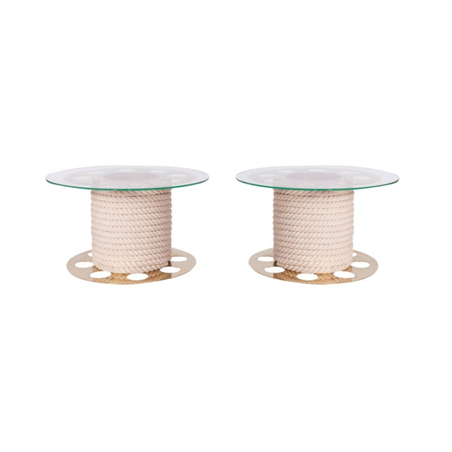 Decorative pair of Italia glam round side tables in brass, rope and glass table top, by fashion designer Paco Rabanne,...