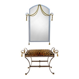 La Barge Brass Tassel Ottoman & Mirror For Sale