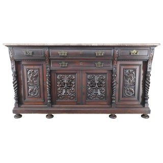 Late 19th Century German Carved Marble-Top Sideboard For Sale