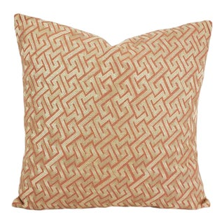 "David Hicks - Groundworks Knossos in Salmon Pillow Cover - 20"" X 20"" Pink Linen With Light Gold Embroidered Greek Key Pattern Cushion Case For Sale"