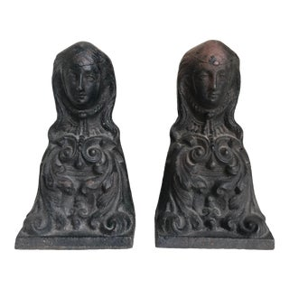 Antique French Female Figure Cast Iron Andirons - a Pair For Sale