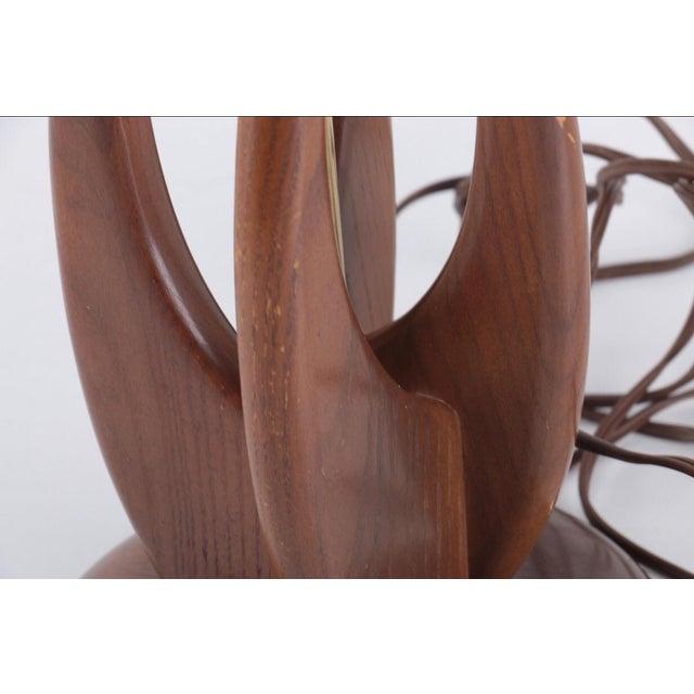 Mid-Century Modern Teak Wood Table Lamp For Sale - Image 4 of 7