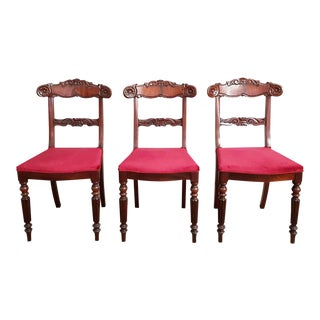 1960 Set of 3 Vintage French Oak Carved Side Chairs For Sale