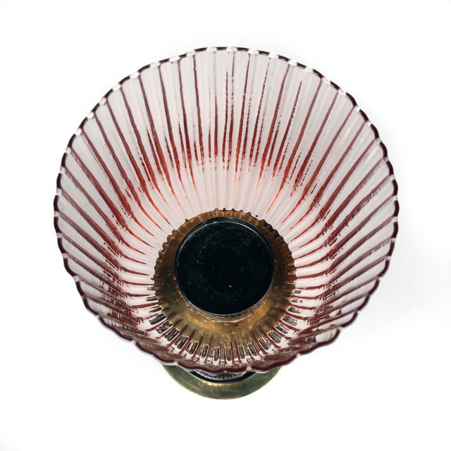 1980s 1980s Brass, Grey Metal and Pink Glass Candle Holder by Lorin Marsh For Sale - Image 5 of 8