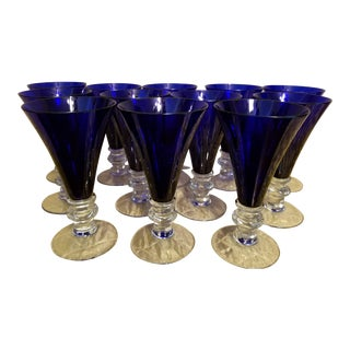 Royal Scot Cobalt Blue Crystal Goblets-12 Pc. For Sale